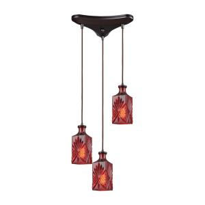 Click here to buy Titan Lighting Giovanna 3-Light Triangle Pan in Oil Rubbed Bronze with Wine Red Decanter Glass Pendant by Titan Lighting.