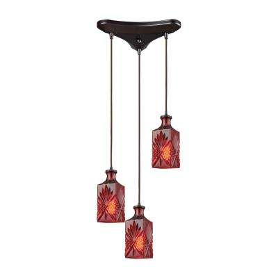 Titan Lighting Giovanna 3-Light Triangle Pan in Oil Rubbed Bronze with Wine Red Decanter Glass Pendant by Titan Lighting