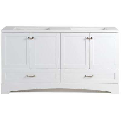 Lancaster 60.25 in. W Bathroom Vanity in White with Cultured Marble Vanity Top in White with White Sink