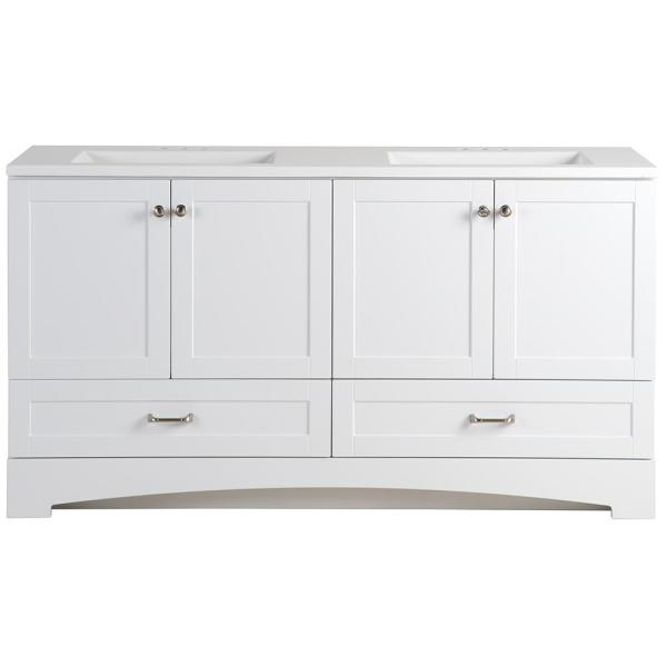 Lancaster 60 in. W Bathroom Vanity in White with Cultured Marble Vanity Top in White with White Sink