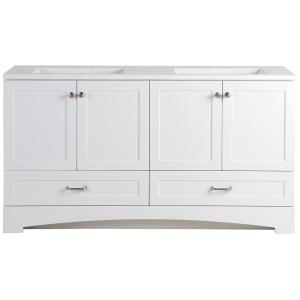Glacier Bay Lancaster 60.25 inch W Vanity in White with Cultured Marble Vanity Top in White with White Basin by Glacier Bay