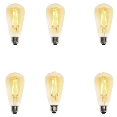 40W Equivalent Amber ST20 Dimmable Filament LED Light Bulb (6-Pack)