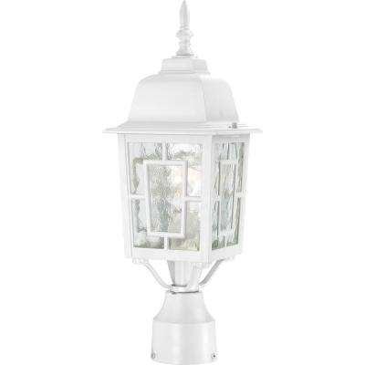 1-Light Outdoor White Post Light with Clear Water Glass