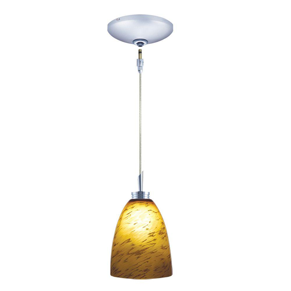 null Low Voltage Quick Adapt 4 in. x 105-1/4 in. Amaretto Pendant and Chrome Canopy Kit