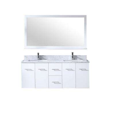 Amelie 60 in. Double Bath Vanity in White with White Carrera Marble Top, White Square Sinks and 60 in. Mirror