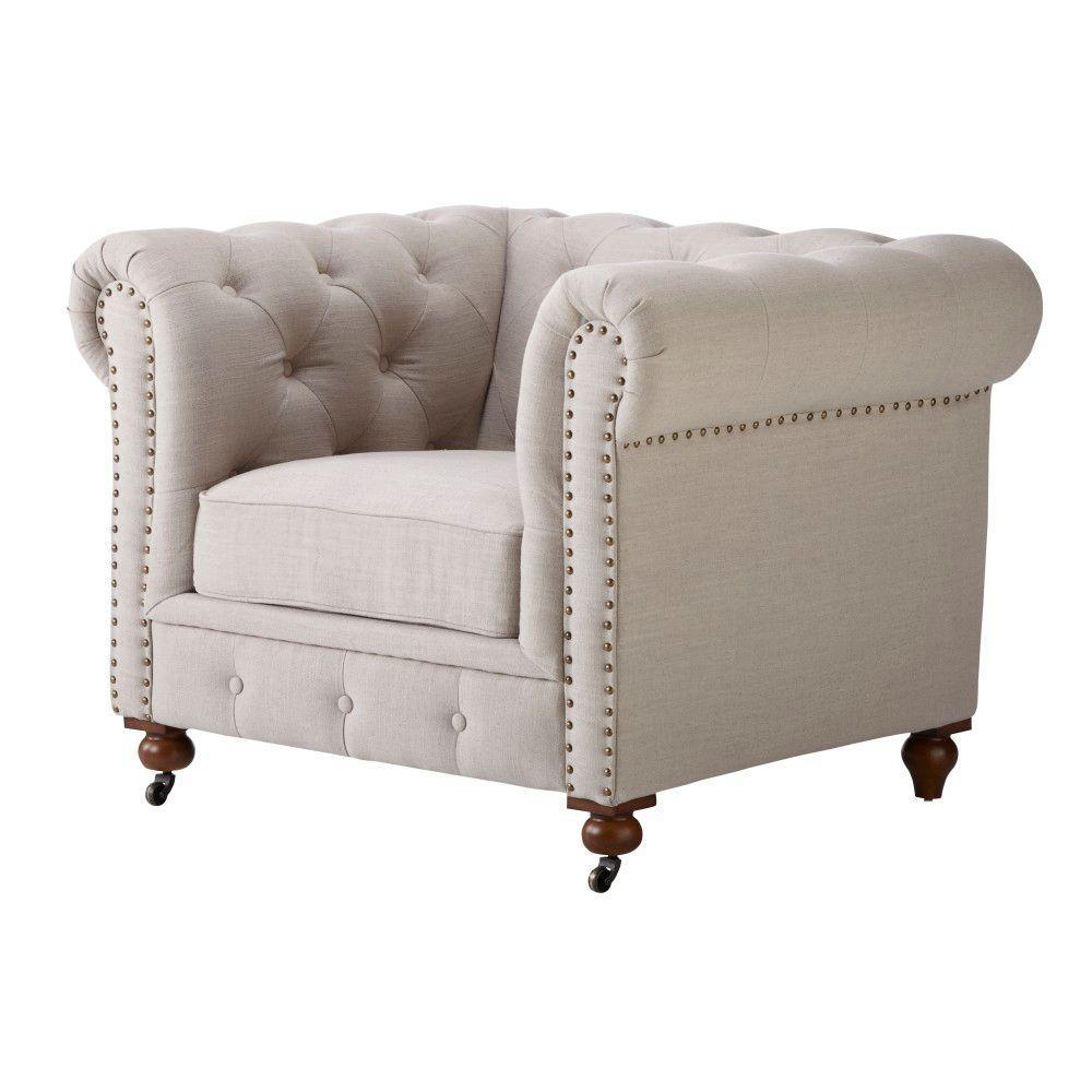 Internet #205181563. Home Decorators Collection Gordon Natural Linen Arm  Chair
