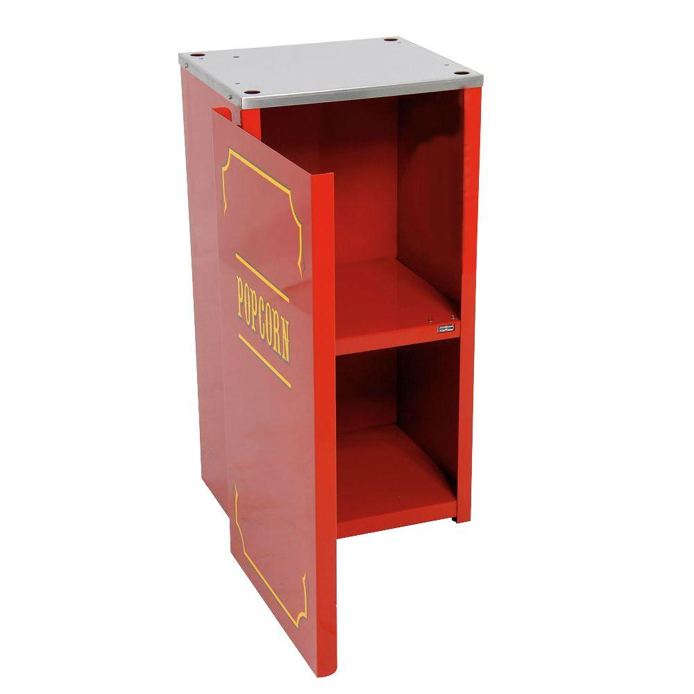 Paragon Premium Theater 4 oz. Popcorn Stand, Red/Powder Coat Stands provide easier access and better merchandising. The sturdy all steel construction has a chip resistant coating. Also features convenient built-in storage space and breaks down easily for storage and transportation. Color: Red/Powder Coat.