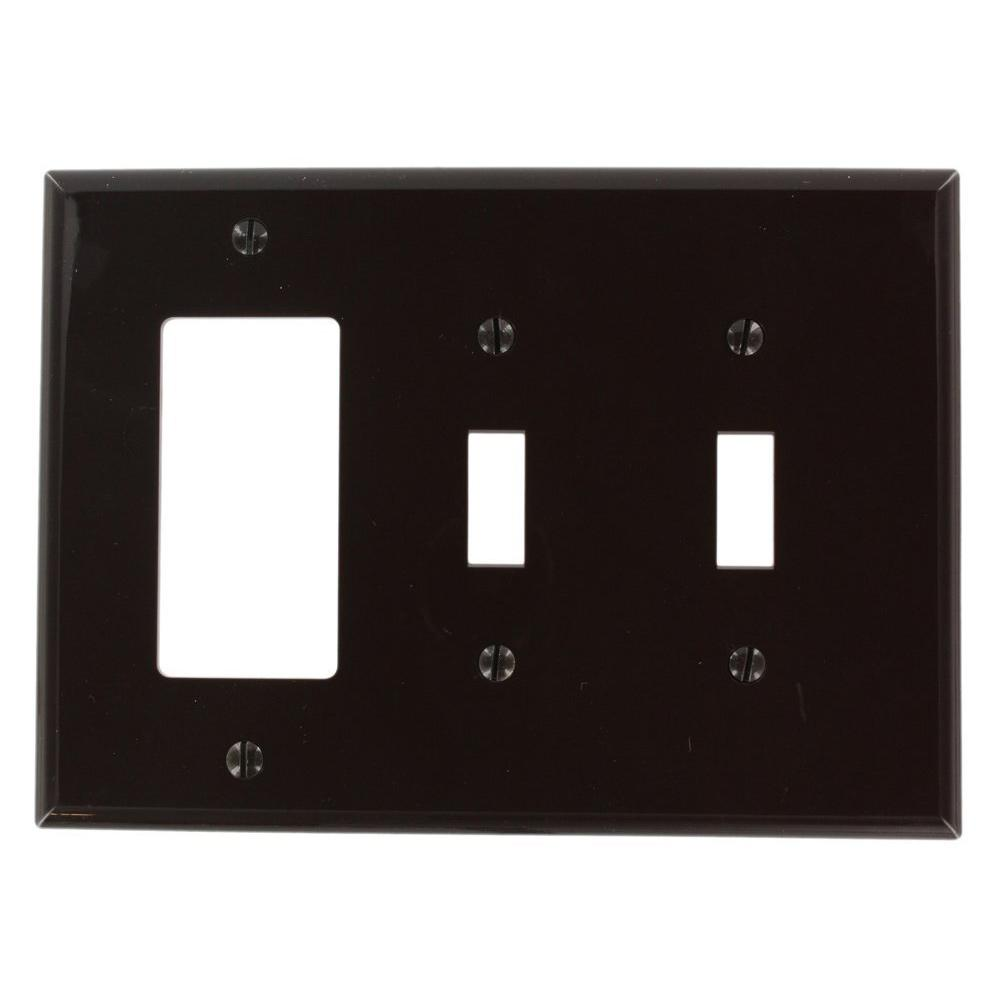 Leviton 2-Gang Midway Size 2-Toggles 1-Decora Nylon Combination Wall Plate in Brown