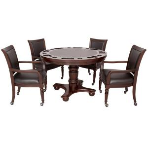 Hathaway Bridgeport 2-in-1 Poker Game Table Set in Walnut Finish ...
