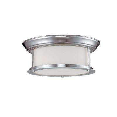 Lawrence 2-Light Brushed Nickel Incandescent Ceiling Flushmount