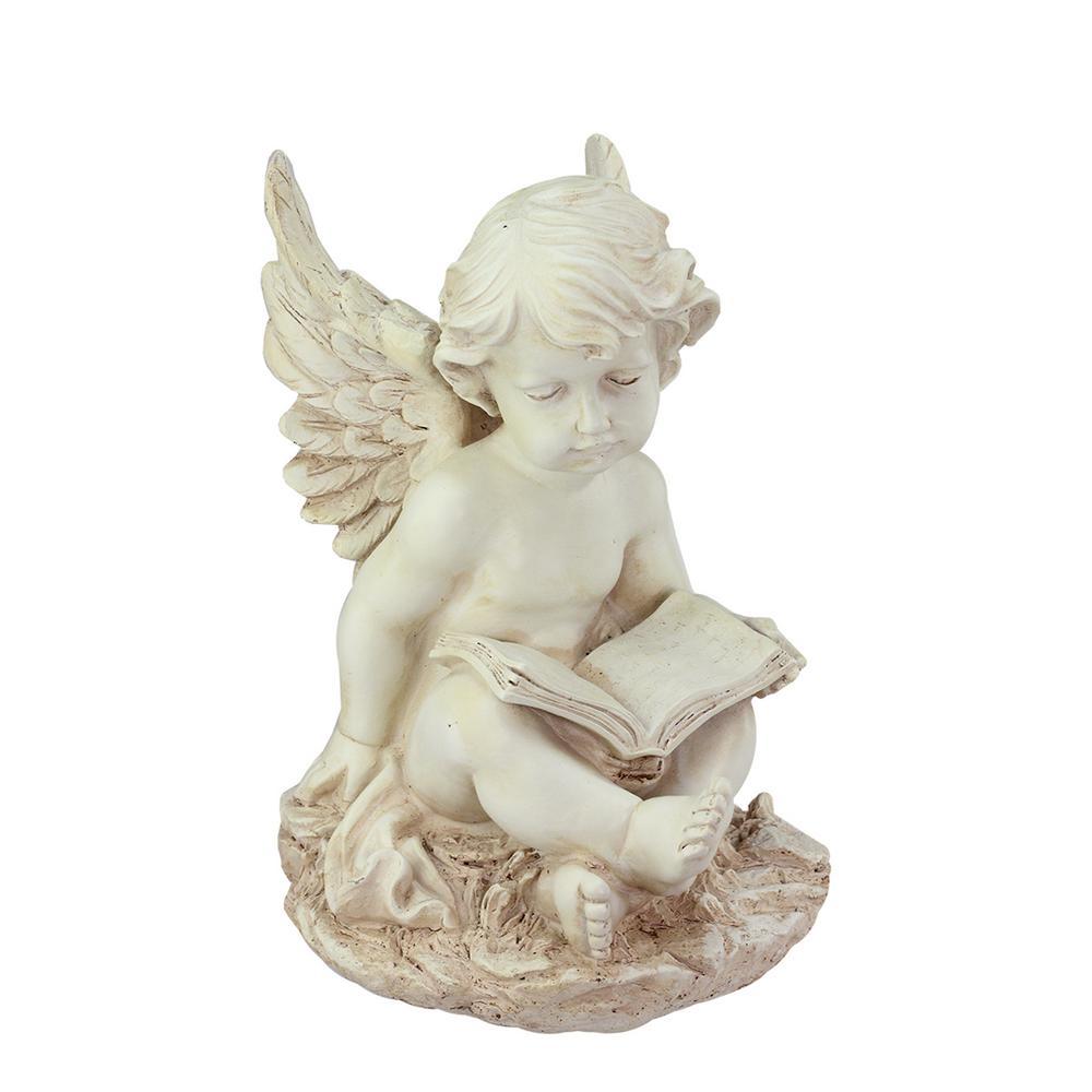 12 in. Heavenly Gardens Ivory Sitting Cherub Angel with Book Outdoor Patio Garden Statue