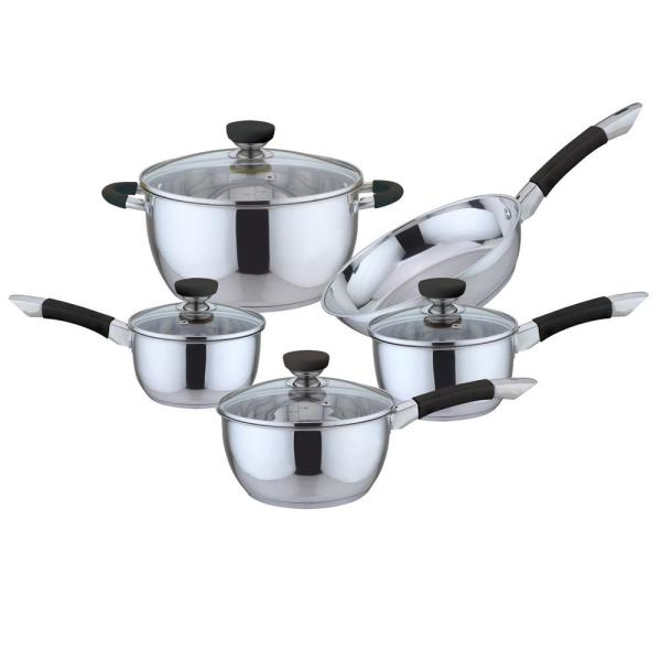 CULINARY EDGE 9-Piece Black Stainless Steel Cookware Set