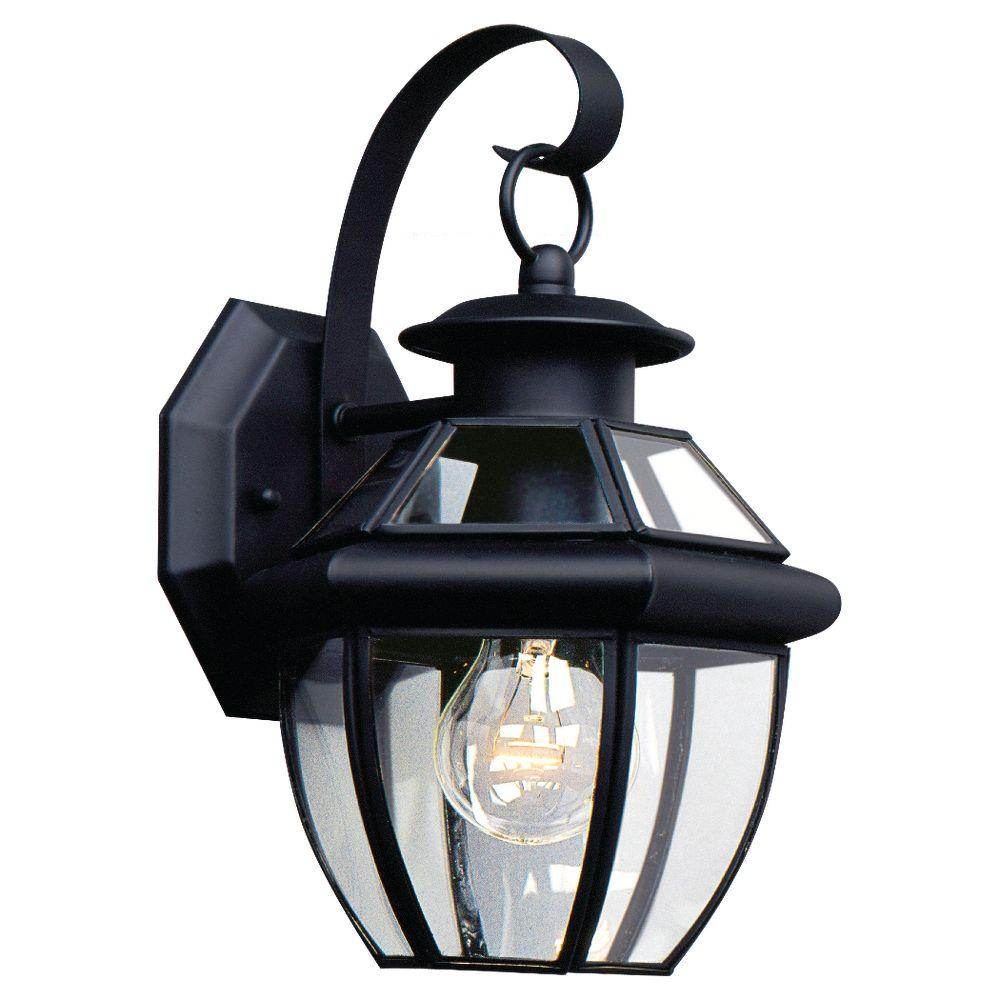 Sea Gull Lighting Lancaster 1-Light Black Outdoor Wall Fixture-8037 ...