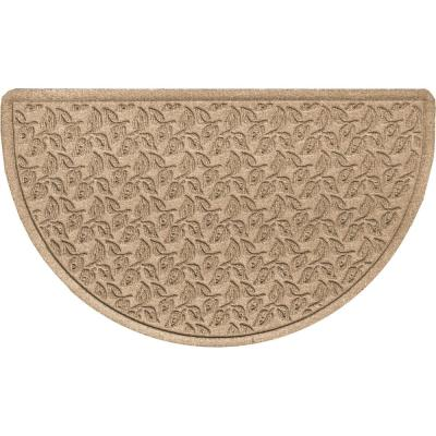 Dogwood Leaf 24 in. x 39 in. Half Round PET Polyester Doormat Camel