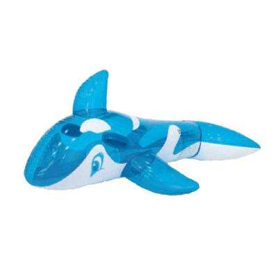 57 in. Blue and White Whale Rider Inflatable Pool Float