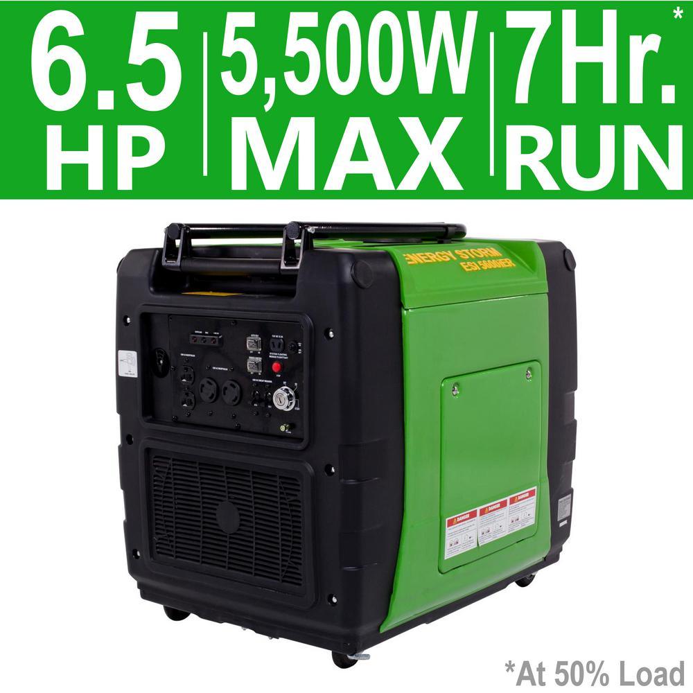 Energy Storm 5,500-Watt 389cc Gasoline Powered Electric Start Inverter Generator with Remote Start