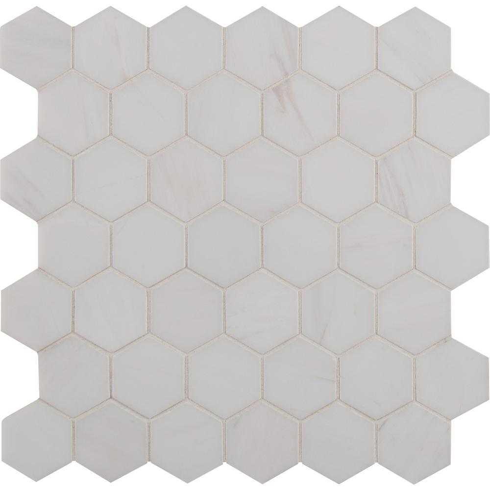 Hexagon mosaic tile tile the home depot bianco dolomite hexagon 12 in x 1175 in x 10 mm dailygadgetfo Image collections
