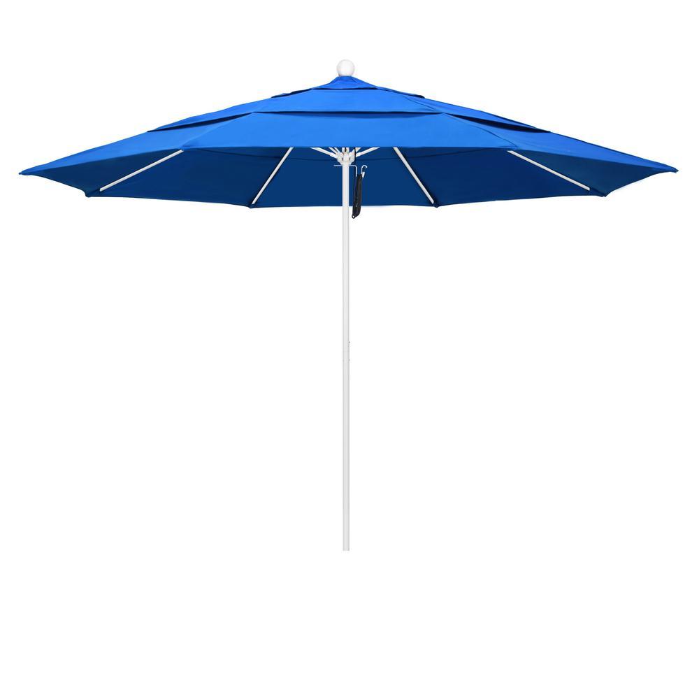 11 ft. Matted White Fiberglass Market Patio Umbrella PO DVent in Royal Blue Olefin