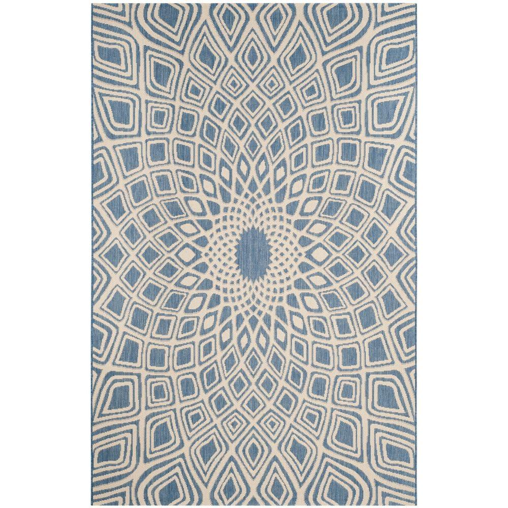 Courtyard Blue/Beige 5 ft. 3 in. x 7 ft. 7 in.