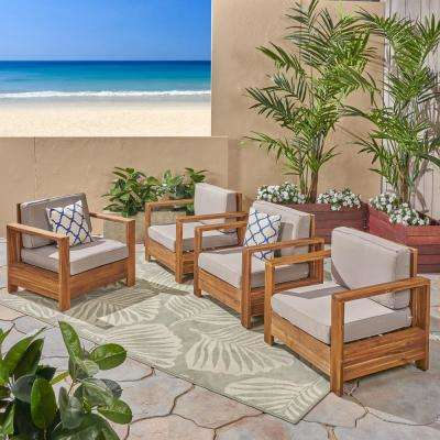 Devon Brushed Brown Patina Wood Outdoor Lounge Chairs with Light Grey Cushions (4-Pack)