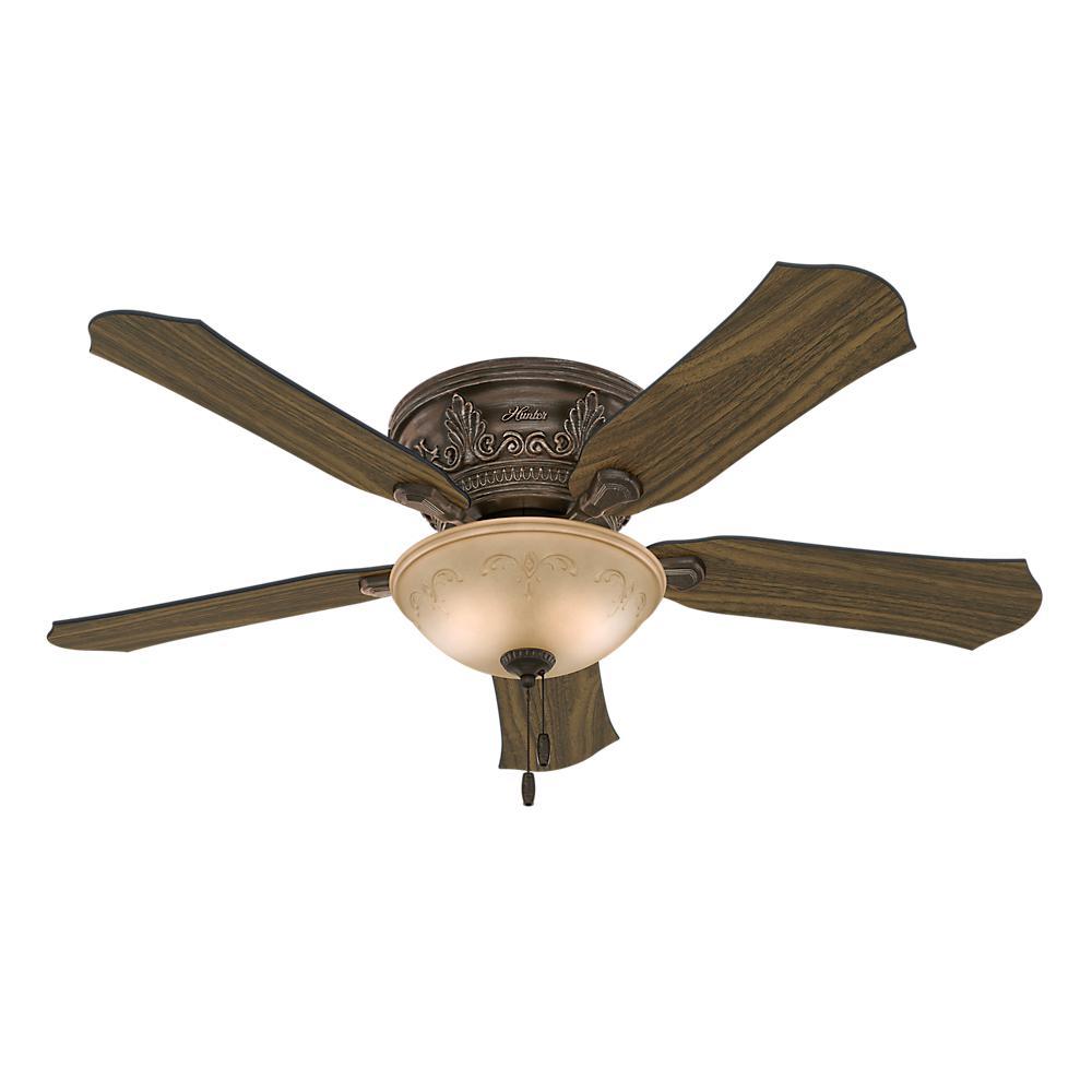 Indoor Roman Bronze Flushmount Ceiling Fan With Light Kit