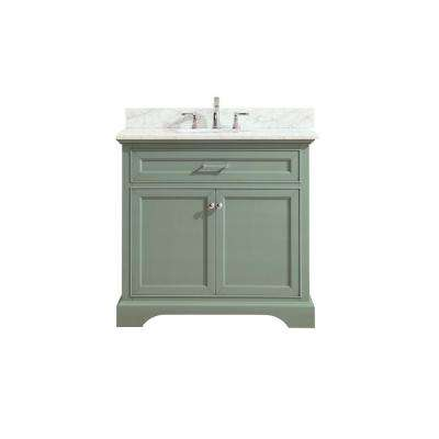 Mercer 37 in. W x 22 in. D x 35 in. H Vanity in Sea Green with Marble Vanity Top in Carrera White with White Basin