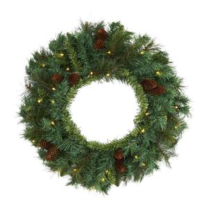20 in. Pre-Lit Mixed Pine and Pinecone Artificial Christmas Wreath with 35 Clear LED Lights