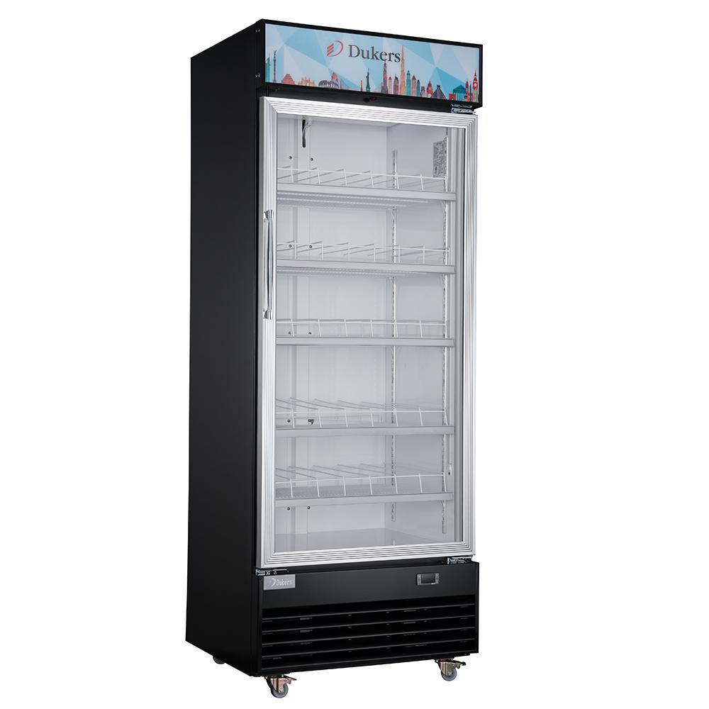 18.7 cu. ft. Commercial Single Glass Swing Door Merchandiser Refrigerator in Black
