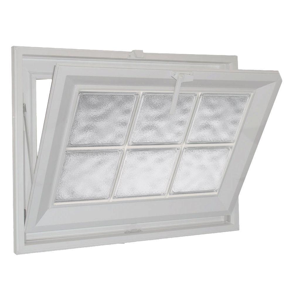 Hy-Lite 31 in. x 15 in. Acrylic Block Hopper Vinyl Window