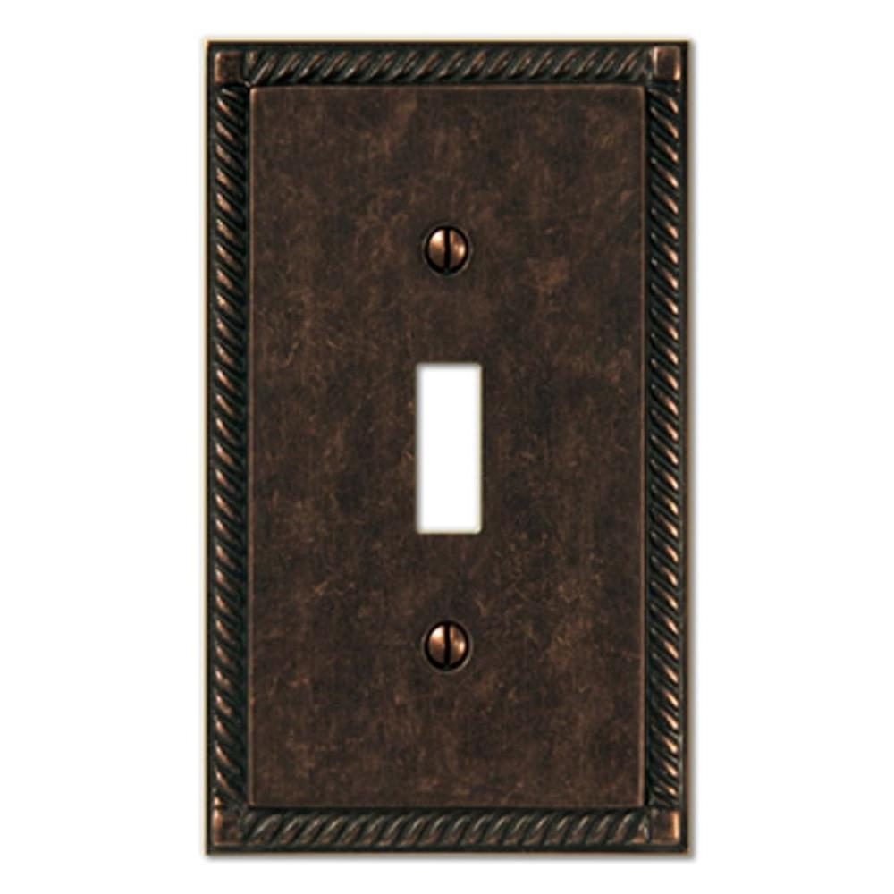 Amerelle Georgian 1 Toggle Wall Plate - Aged Bronze-DISCONTINUED