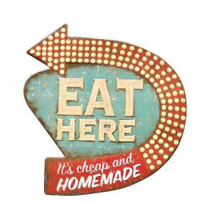 "16 in. H x 15 in. W ""Eat Here"" Retro Wall Art"