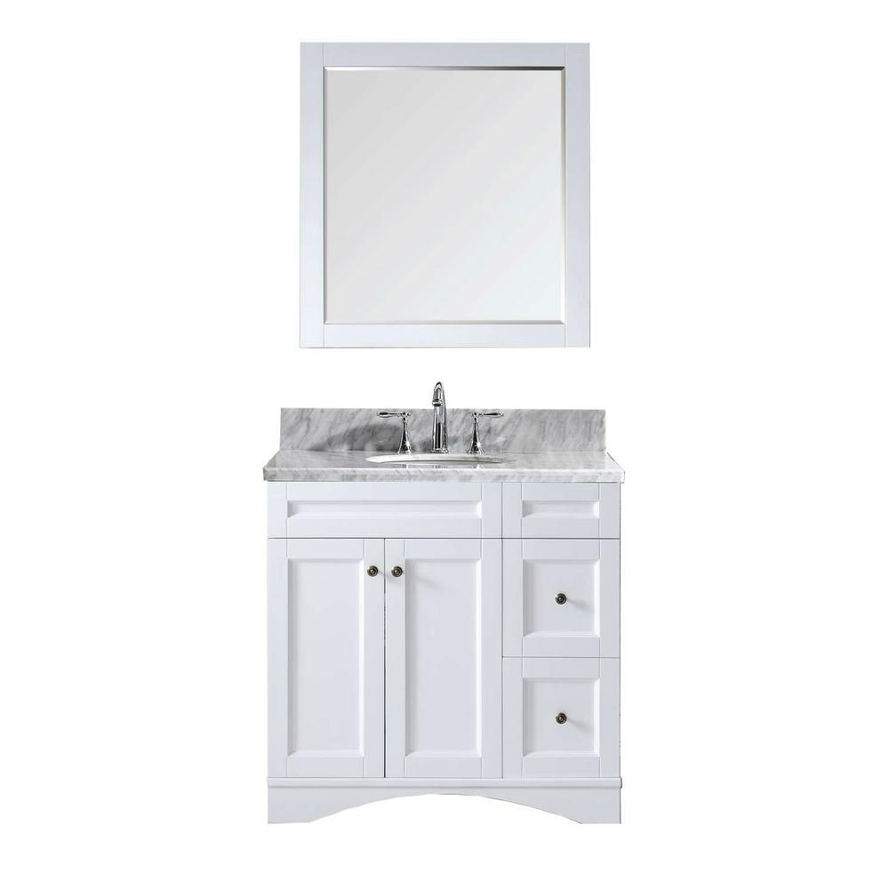 Virtu USA Elise 36 in. W Bath Vanity in White with Marble Vanity Top in White with Round Basin and Mirror