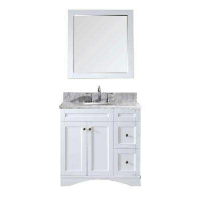 Elise 36 in. W Bath Vanity in White with Marble Vanity Top in White with Round Basin and Mirror