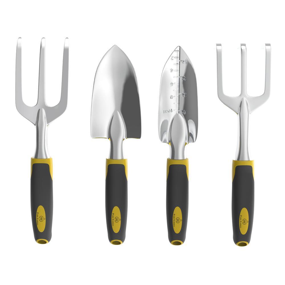 Pure Garden Gardening Tool Set With Comfort Grip Handles 4 Piece