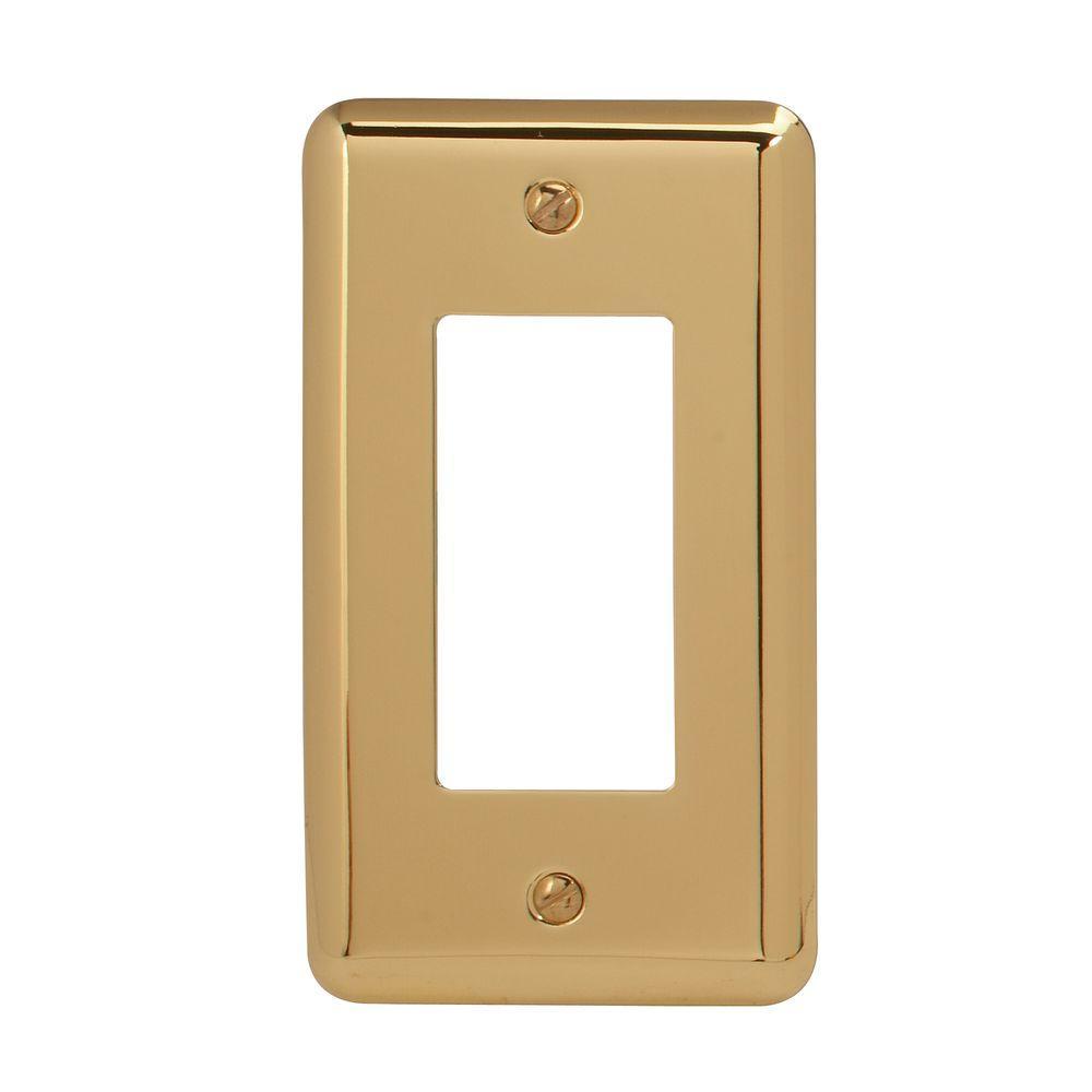 Steel 1 Decora Wall Plate - Bright Brass