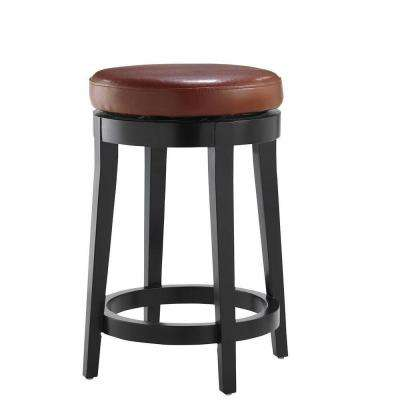 24 in. Red Cushioned Swivel Bar Stool