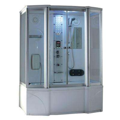67 in. x 35 in. x 86 in. Steam Shower Enclosure Kit with Whirlpool Tub in White