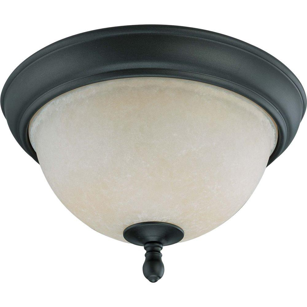 Glomar 2-Light Aged Bronze Flush Dome with Biscotti Glass
