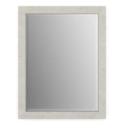 23 in. x 33 in. (S2) Rectangular Framed Mirror with Deluxe Glass and Float Mount Hardware in Stone Mosaic