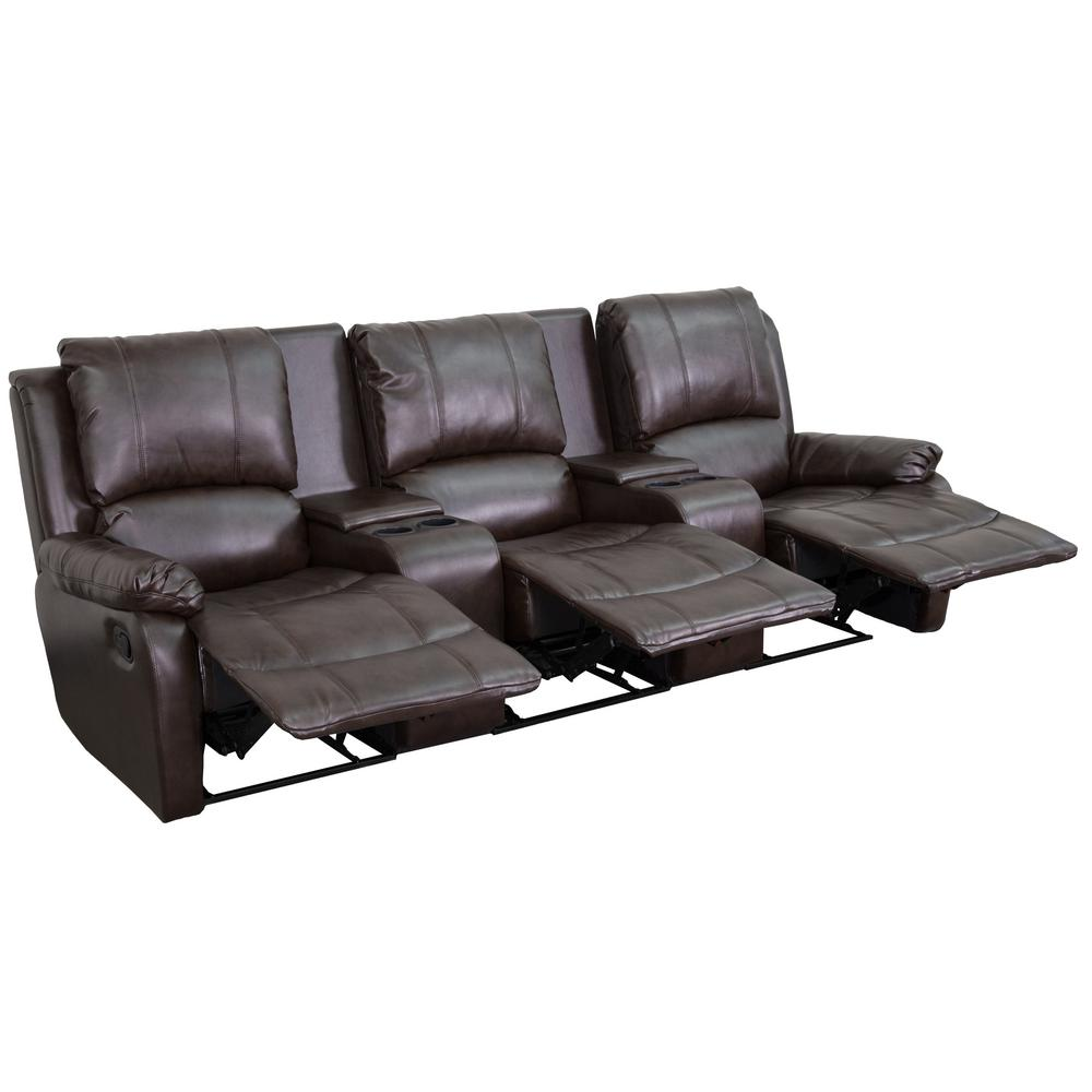Elegant Flash Furniture Allure Series 3 Seat Reclining Pillow Back Brown Leather  Theater Seating Unit With Cup Holders BT702953BRN   The Home Depot