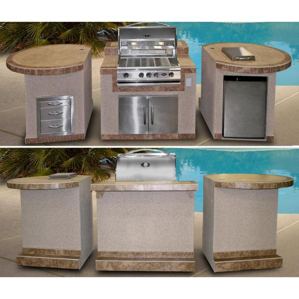 Cal Flame 3 Piece Bbq Island With 32 In Bbq Grill E3022 The Home Depot