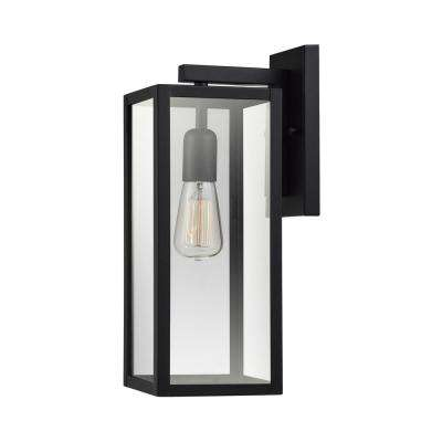 Hurley 1-Light Black Outdoor Wall Mount Sconce