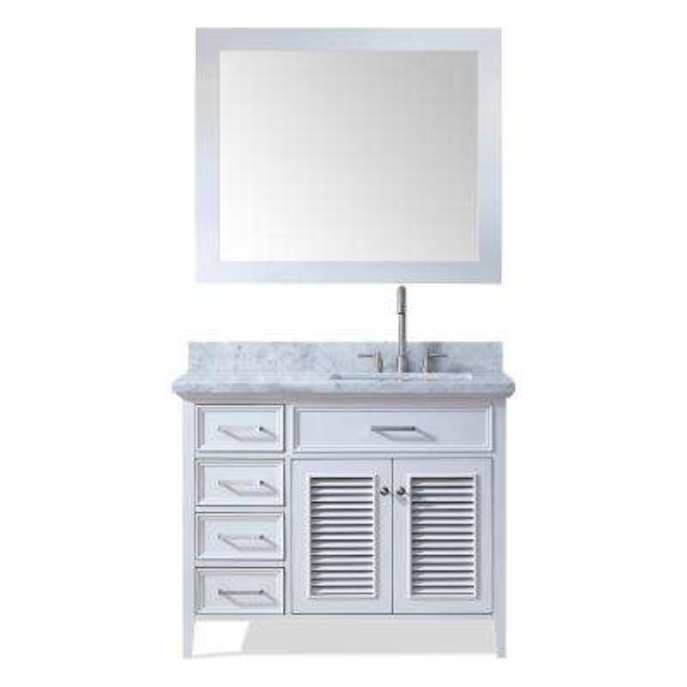Kensington 43 in. Bath Vanity in White with Marble Vanity Top in Carrara White with White Basin and Mirror