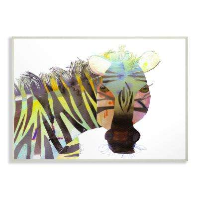 "10 in. x 15 in. ""Watercolor Cutout Collage Zebra"" by Marley Ungaro Printed Wood Wall Art"