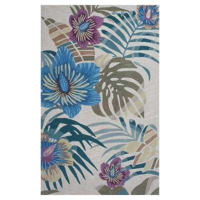 Tropical Day Beige/Blue 8 ft. x 10 ft. 6 in. Area Rug