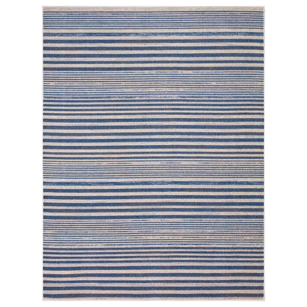 StyleWell Ione Blue/Cream 5 ft. x 7 ft. Striped Low Pile Area Rug was $64.52 now $38.71 (40.0% off)
