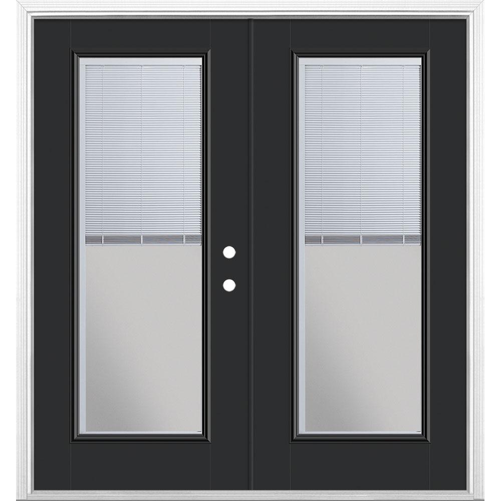 72 in. x 80 in. Jet Black Fiberglass Prehung Left-Hand Inswing Mini Blind Patio Door w/ Brickmold Vinyl Frame