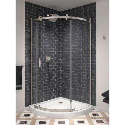 38 in. x 72 in. Frameless Corner Sliding Shower Door in Stainless Steel