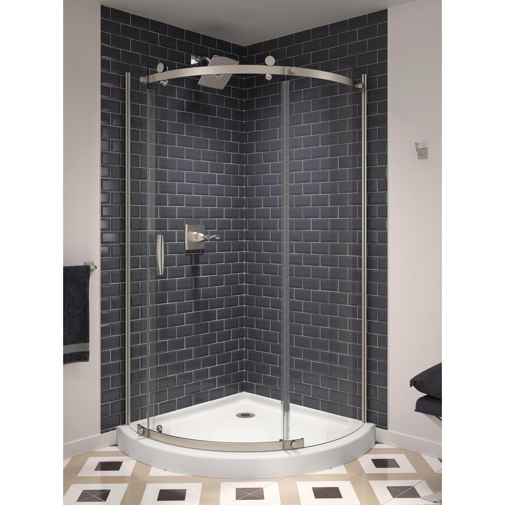 38 in. x 72 in. Frameless Corner Sliding Shower Door in Stainless Steel