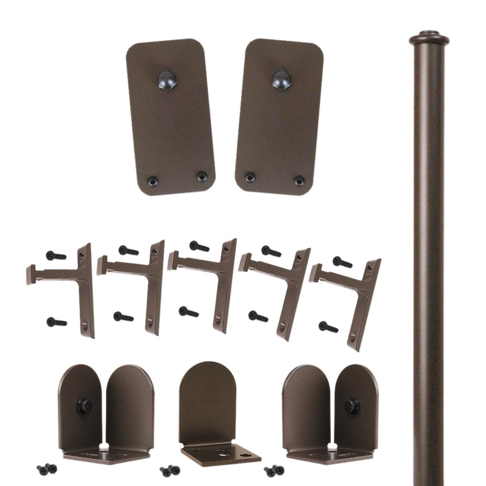 96 in. Basic Rectangle Oil Rubbed Bronze Rolling Door Hardware Kit
